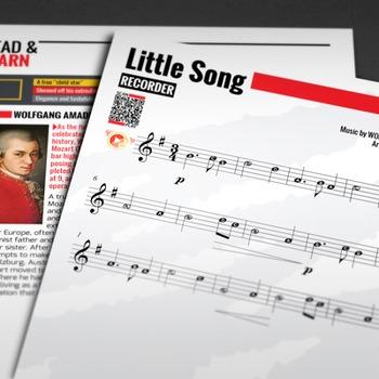 RECORDER SHEET MUSIC: Little Song - W.A. Mozart w/ FINGERI