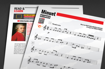 RECORDER SHEET MUSIC: Minuet - Mozart with FINGERING CHART