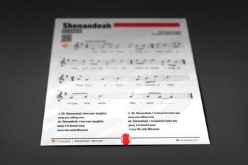 RECORDER SHEET MUSIC: Shenandoah [Freebie]