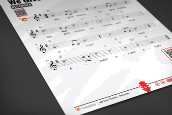RECORDER SHEET MUSIC: We Give Thanks w/ Performance Trax [Thanksgiving]