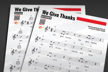 RECORDER SHEET MUSIC: We Give Thanks w/ Performance Trax [