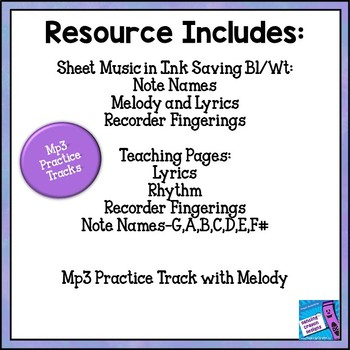 "RECORDER SONG ""Come Along and Sing with Me"" Note Names, Lesson, Mp3 Tracks"