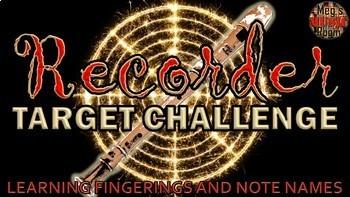 RECORDER TARGET CHALLENGE BUNDLE - Treble Clef/Fingering Game ELEMENTARY MUSIC