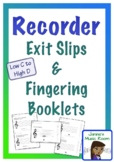 Recorder EXIT SLIPS and FINGERING BOOKLET
