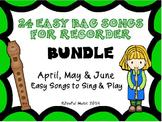 RECORDERS 24 Easy Recorder BAG Songs BUNDLE #2