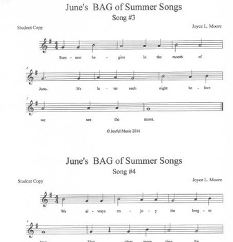 RECORDERS June's BAG of Summer Songs