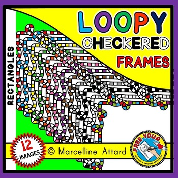 RECTANGLE LOOPY CHECKERED FRAMES CLIPART
