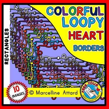 RECTANGLE LOOPY HEART FRAMES CLIP ART: HEART BORDERS: RECTANGLE FRAMES