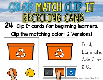 RECYCLING BINS Color Match Clip It {A Beginning Work Task)