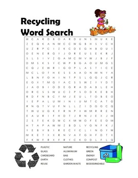 RECYCLING WORD SEARCHES, BUNDLE 6 PAGES, REDUCE REUSE RECYCLE ACTIVITIES