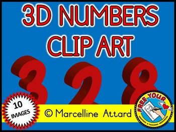 3D NUMBERS CLIPART: RED SOLID SHAPES CLIPART NUMBERS: MATH CLIPART