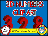 3D NUMBERS CLIPART: RED SOLID SHAPES CLIPART NUMBERS: MATH