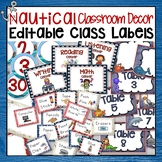 RED AND NAVY BLUE NAUTICAL CENTER, SUPPLIES, AND NUMBER CLASSROOM LABELS