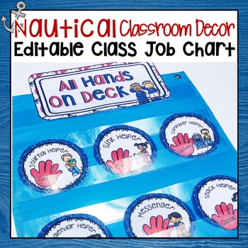 RED AND NAVY BLUE NAUTICAL DAILY CLASSROOM JOBS CHART EDITABLE