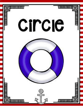 RED AND NAVY BLUE NAUTICAL THEMED 2-D and 3-D SHAPES POSTERS