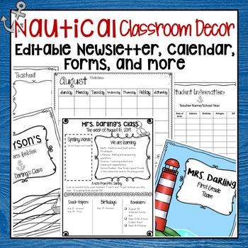 RED AND NAVY NAUTICAL EDITABLE MEET THE TEACHER, CALENDAR, AND NEWSLETTER
