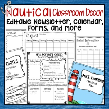 RED AND NAVY NAUTICAL EDITABLE MEET THE TEACHER, CALENDAR, AND NEWSLETTER