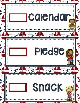 RED AND NAVY NAUTICAL OR SAILING THEMED DAILY CLASSROOM SCHEDULE CARDS
