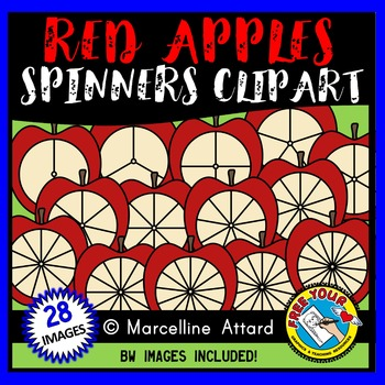 RED APPLE SPINNERS CLIPART: BACK TO SCHOOL CLIPART