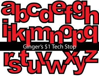 RED! * Bulletin Board Letters *  Lower Case * Alphabet