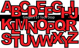 RED! * Bulletin Board Letters *  Upper Case * Alphabet