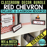 RED CHEVRON Classroom Decor EDITABLE