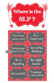 RED/Charcoal Door Sign For Speech Pathologists or SLPAs
