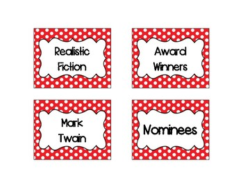 RED DOTS CLASSROOM LIBRARY BOOK BINS/BASKET LABELS!