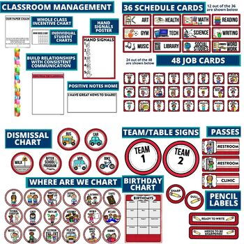 RED MODERN PATTERN Classroom Decor-EDITABLE Clutter-Free Classroom Decor BUNDLE