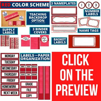 RED Classroom Theme EDITABLE