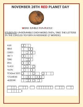 RED PLANET DAY: NOVEMBER 28TH, A WORD JUMBLE FUN PUZZLE