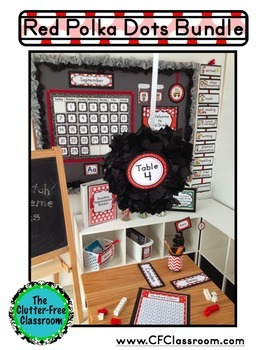 RED POLKA DOTS Classroom Decor - EDITABLE Clutter-Free Classroom Decor BUNDLE