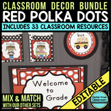 RED POLKA DOT Classroom Decor EDITABLE
