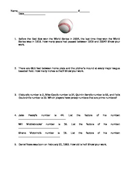 RED SOX MATH WORD PROBLEMS