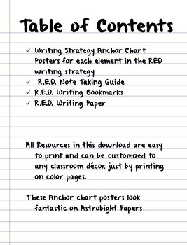 RED Writing Strategies Anchor Charts and Resource Pack