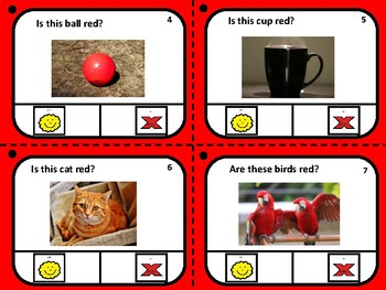RED-YES/NO clip cards for Autism, Special Education, and Language development