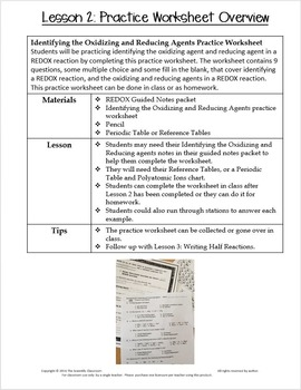 REDOX: Identifying the Oxidizing and Reducing Agents Practice Worksheet