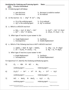 Redox Identifying The Oxidizing And Reducing Agents Practice Worksheet