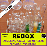 REDOX: Oxidation Numbers Practice Worksheet