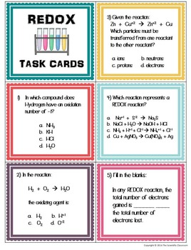 REDOX: Oxidation and Reduction Task Cards