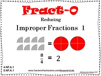 REDUCING IMPROPER FRACTIONS to Whole Numbers