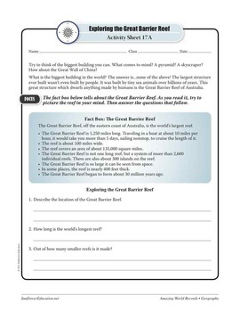 REEFS—Geography Worksheets and Activities