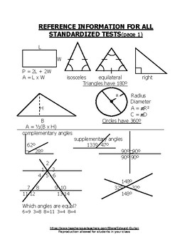 REFERENCE INFORMATION FOR STANDARDIZED TESTS-SAT, ACT, ...