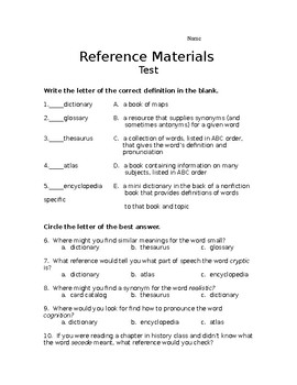 REFERENCE MATERIALS TEST- L.4.4C