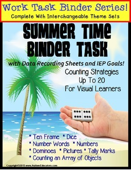 REFILL ONLY: Autism Work Task Binder with Data SUMMER THEME Counting to 20
