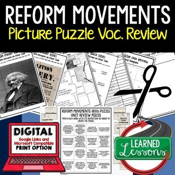 REFORM MOVEMENTS 1800S Picture Puzzle Unit Review, Study Guide, Test Prep
