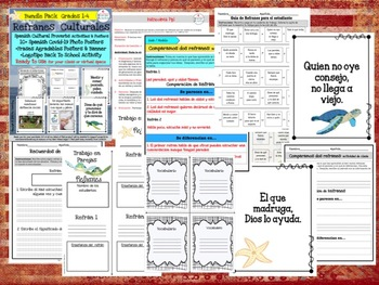 REFRANES-Spanish Cultural Sayings Posters & Lessons   Grades 3-5