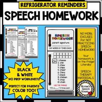 REFRIGERATOR HOMEWORK BOOKMARKS SPEECH THERAPY worksheets LOW PREP NO PREP