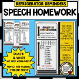 REFRIGERATOR HOMEWORK BOOKMARKS SPEECH THERAPY worksheets LOW PREP NO PREP