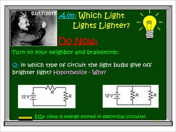 PHYSICS LESSONS: Electricity: Electric Energy & Power. Test Quiz Prep Worksheets